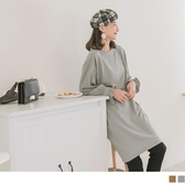 《DA7038-》純色圓領剪接設計荷葉袖寬鬆洋裝/長版上衣 OB嚴選
