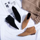 2019秋冬新款尖頭短靴女及踝靴后拉鏈絨面切爾西靴平底深口單靴潮mks歐歐