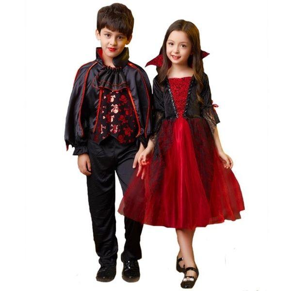 萬圣節服裝女禮服女童公主裙男童死神恐怖吸血鬼衣披風演出服
