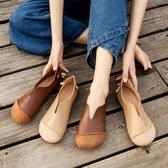 娃娃鞋 復古森繫女鞋新款軟底牛筋單鞋女夏大頭平底圓頭奶奶鞋 - 雙十二交換禮物