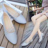 低跟單鞋 單鞋女尖頭平底正韓簡約銀色淺口套腳方口瓢鞋淑女鞋 『魔法鞋櫃』