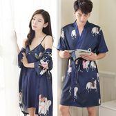 夏季男女日式和服睡衣薄款冰絲綢情侶睡袍兩件套春秋性感浴袍浴衣 滿千89折限時兩天熱賣