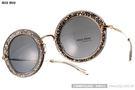 MIU MIU 太陽眼鏡 SMU13N IAH1A1 (亮片棕-金) 眾女星熱愛經典款 復古時髦圓框 # 金橘眼鏡