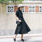 小黑裙2018夏季新款女襯衫裙長款及踝長裙學生雪紡連身裙  Cocoa