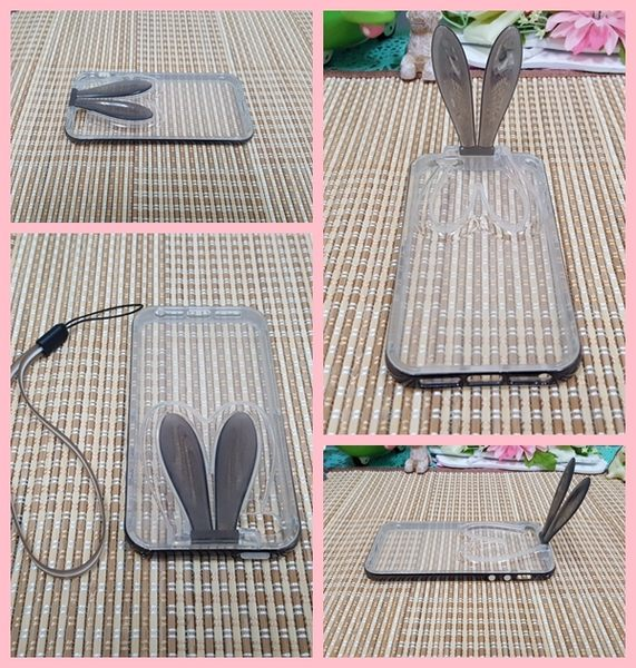 【CHENY】出清特賣 iphone6/6s 4.7吋 金屬邊框TPU 兔子耳朵 手機殼 保護殼 附掛繩