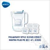 BRITA FILL&ENJOY STYLE 純淨濾水壺-藍色+替換濾心四入組 3.6公升 ║ 碧藍水