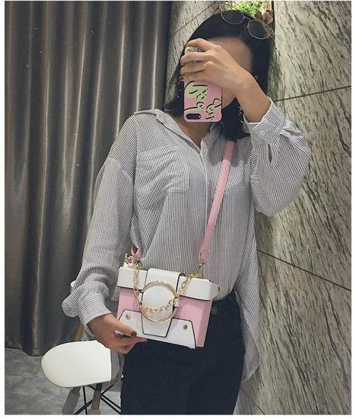 簡約斜背盒子包 女單肩側背包《印象精品》b1755