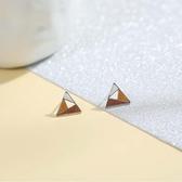 耳環 簡約 彩色 幾何 三角形 拼接 小巧 甜美 耳釘 耳環 【SE846】 icoca  3/27