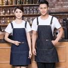定做牛仔背帶圍裙 咖啡西餐廳廚房美甲防油時尚工作服印繡訂製LOGO店名 降價兩天
