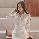 歐媛韓版 夏裝新款女韓范韓國襯衫 氣質翻領透視雪紡衫長袖防曬衣百搭上衣潮