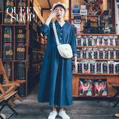 Queen Shop【01084821】基本百搭休閒V領牛仔長洋裝*現+預*