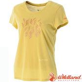 Wildland 荒野 0A51691-34檸檬黃 女 RE印花棉感功能上衣 抗紫外線/涼爽散熱/吸濕快乾/登山旅遊