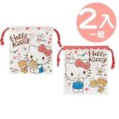 小禮堂 Hello Kitty 日製 棉質束口袋組 旅行收納袋 小物袋 縮口袋 (2入 紅白 鬆餅) 4973307-50130