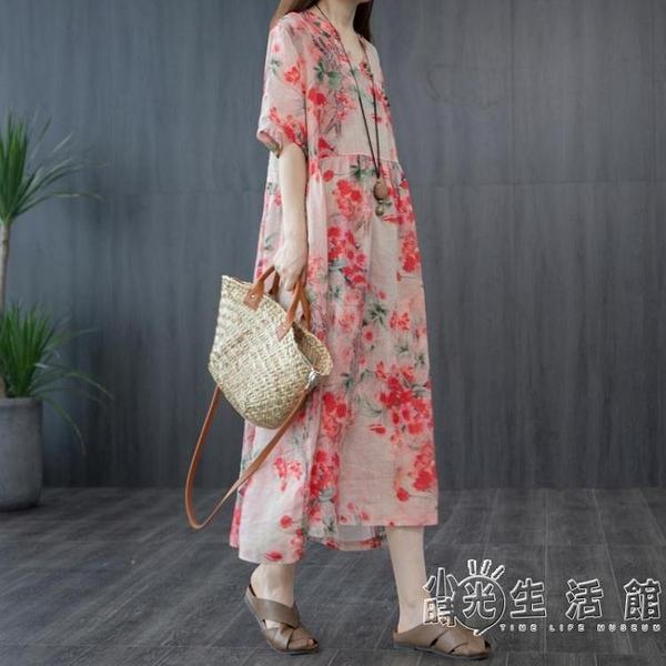 2020夏裝文藝民族風印花苧麻七分袖中長款洋裝寬鬆休閒亞麻長裙 小時光生活館