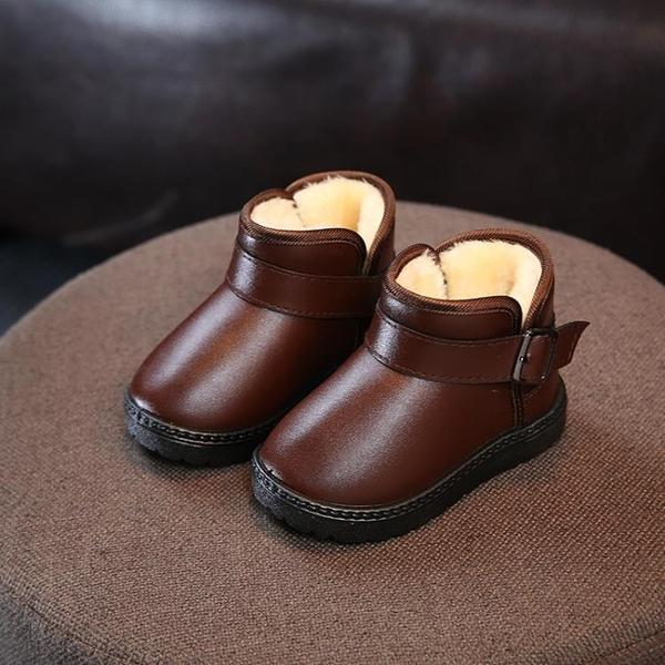 反季促銷兒童雪地靴皮面女童靴子防滑防水鞋加絨加厚短靴男童棉靴 雙十一全館免運
