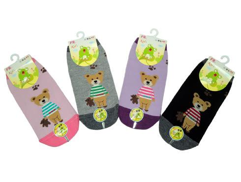 FR-0008 小熊帶小熊止滑直版童襪-6雙 台灣製 15~18CM