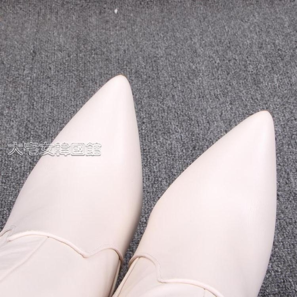 膝上靴女出口歐美單大碼靴性感尖頭細跟側拉鍊過膝長筒靴顯瘦高跟女靴潮 快速出貨