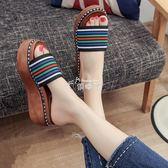 拖鞋一字拖厚底鬆糕跟拼色涼鞋夏季新款中跟室外穿女鞋子時尚 俏腳丫