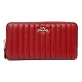 【COACH】絎縫直紋ㄇ型拉鍊零錢袋長夾(紅)