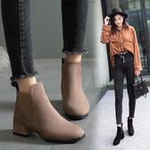馬丁靴女秋冬季新款百搭復古英倫風粗跟粗跟鬆緊帶切爾西短靴