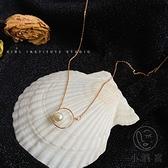 冷淡風氣質簡約鎖骨鍊設計感幾何珍珠項鍊女潮【小酒窝服饰】
