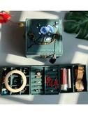 墨綠色復古首飾盒小號手提飾品盒中國風首飾收納盒生日禮品流蘇 錢夫人小鋪