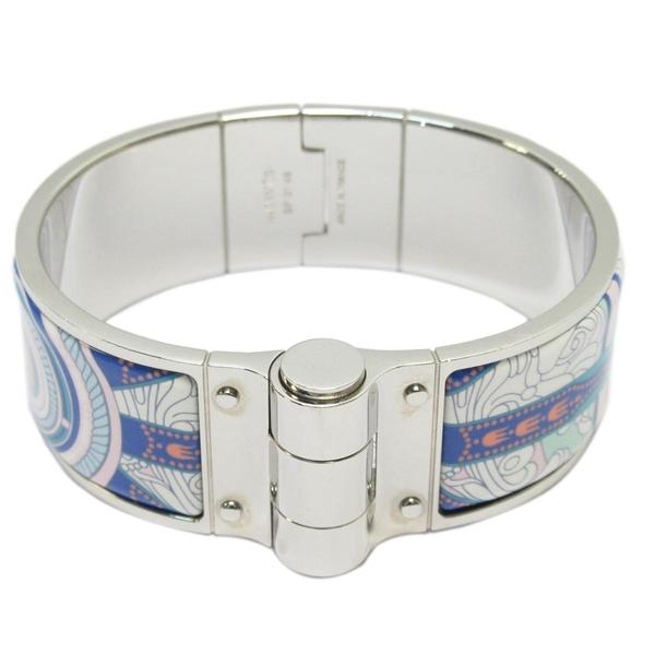 HERMES 愛馬仕 銀色細版琺瑯手環The Three Graces hinged bracelet【BRAND OFF】