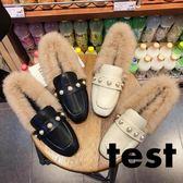 豆豆鞋 保暖加絨兔毛女平底鞋韓版毛毛鞋瓢鞋 艾米潮品館