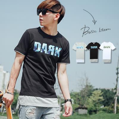 男裝 DARK迷彩字母假兩件長版短袖T恤【N9555J】