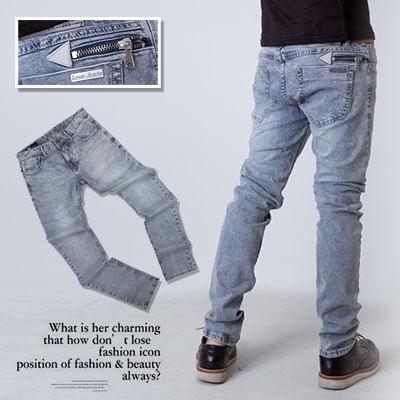 柒零年代【N8716J】簡約質感金屬拉鍊三角皮標小直統牛仔褲(LE-W329)vigor