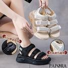 PAPORA軟Q魔術貼輕量休閒涼鞋KS0733黑色/ 米色