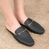穆勒鞋.MIT金屬鍊條簡約平底拖鞋.白鳥麗子