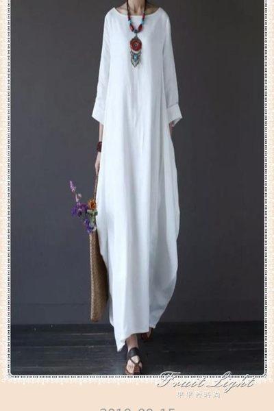 氣質大碼寬鬆純色棉麻洋裝原創民族風復古文藝長裙袍子潮 果果精品