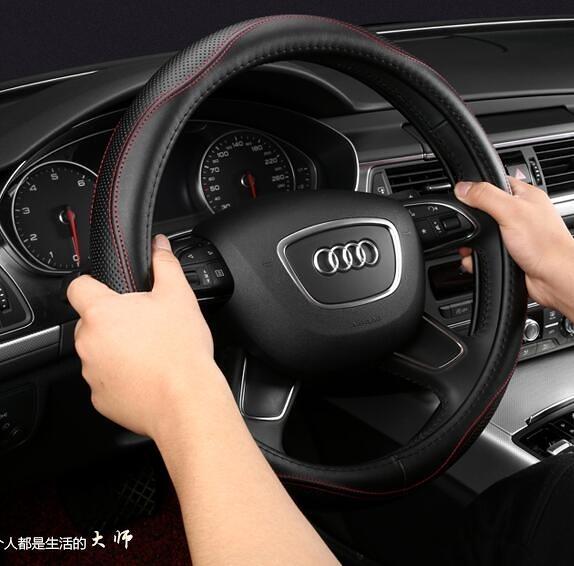 方向盤套 奧迪A6L A4L A3 A5 A7 A8L Q3 Q5 Q7皮質方向盤套汽車把套牛皮【快速出貨】