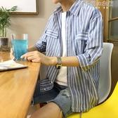 夏季小清新港風條紋襯衫男韓版寬鬆學生bf七分袖chic韓風中袖襯衣 韓小姐的衣櫥