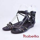 itabella.夏日風情-線條感牛皮涼鞋(9304-90黑色)