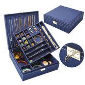 首飾盒-首飾盒雙層絨布歐式木質韓國公主家居帶鎖裝飾品化妝女收納盒大 花間公主
