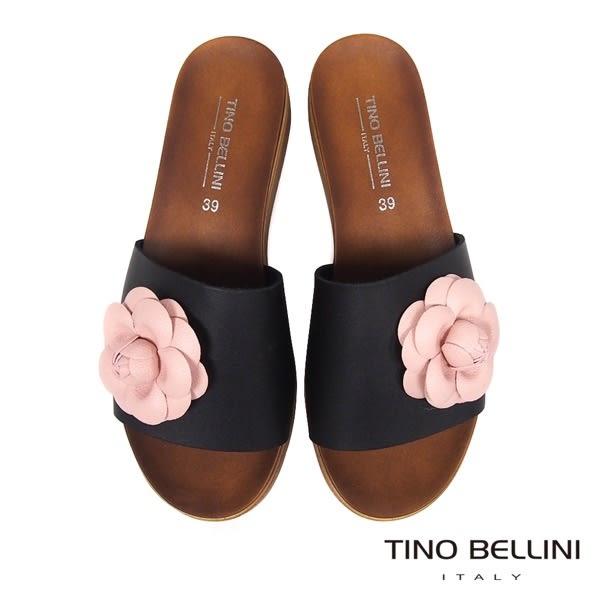 Tino Bellini 義大利進口盛開繁花厚底涼拖鞋 _ 黑 A83030 歐洲進口款
