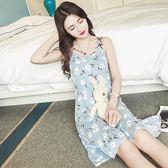 韓版學生睡衣女夏季短袖甜美可愛吊帶睡裙中裙純棉冰絲小清新裙子   LannaS