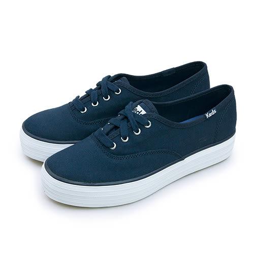LIKA夢 Keds 時尚韓風經典款厚底高筒帆布鞋 TRIPLE PEACOAT 系列 海軍藍 130027 女