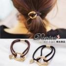 髮束 現貨 韓國連線熱賣氣質甜美手作簡約金屬感幾何愛心髮束(2色) S7329 Danica 韓系飾品