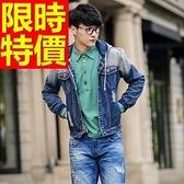 牛仔外套單寧男夾克-歐美新款粗曠美式1色61t40【巴黎精品】
