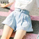 牛仔短褲夏季新款韓版高腰顯瘦短褲寬鬆學生闊腿熱褲潮 GB5266『M&G大尺碼』