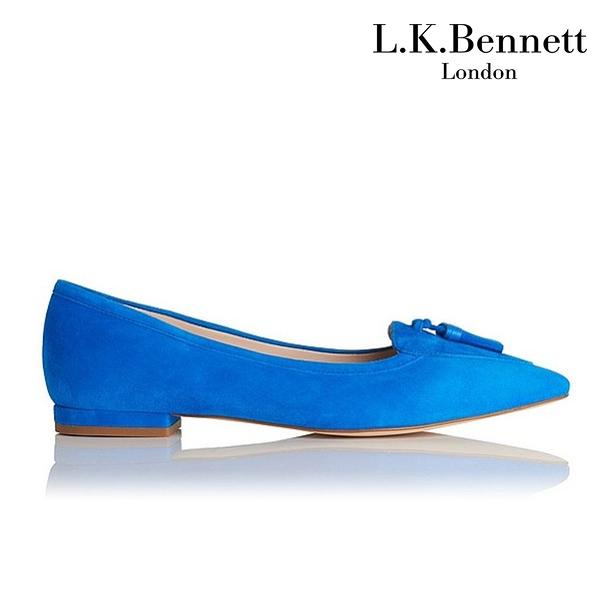 【L.K. BENNETT】凱特王妃摯愛 白金漢宮品牌 DIXIE麂皮流蘇平底鞋-藍 (原廠公司貨)