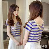 2020夏季新款韓版V領條紋短袖心機t恤女棉質半袖修身百搭露背上衣 EY10511【毛菇小象】