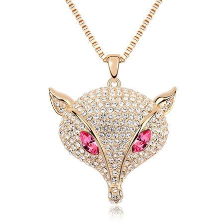 飾品 水晶 項鍊 奧地利水晶毛衣鏈--狡猾的狐狸(水蓮紅+香檳金)