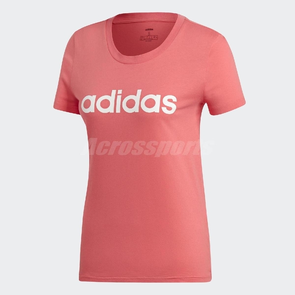 adidas T恤 Essentials Linear T-Shirt 女款 運動 短袖 短T 上衣 粉橘 粉 白 【ACS】 DX2545