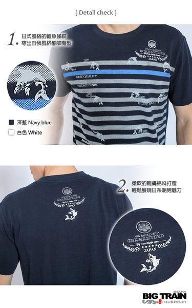 BIG TRAIN 鯉魚條紋圓領T-男-深藍/白