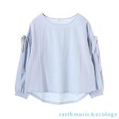 「Hot item」袖綁帶圓領長袖上衣 - earth music&ecology