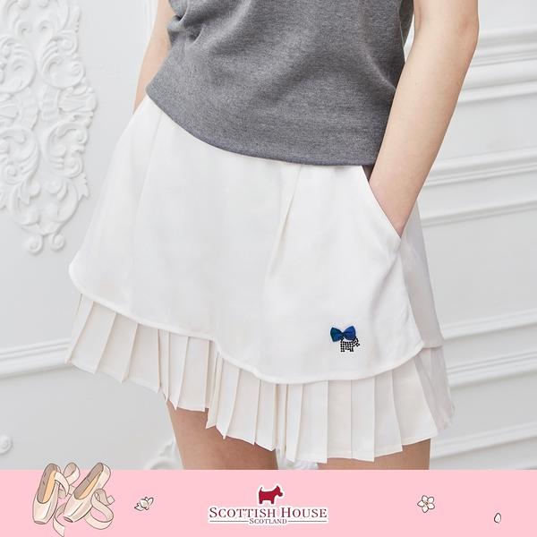百褶擺素面褲裙 Scottish House 【AM2266】
